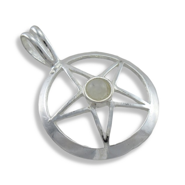 Silver Plated Pentacle Pendant W/ White Stone Pendants