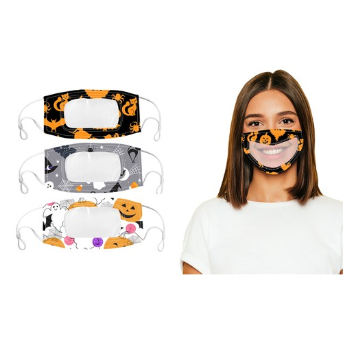3-Pack Adult Halloween Edition Smile Communicator Clear Mouth Face Mask