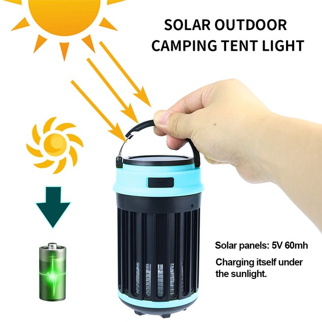 Hakol Outdoor Solar Powered LED Rechargeable Mosquito Zapper Lantern