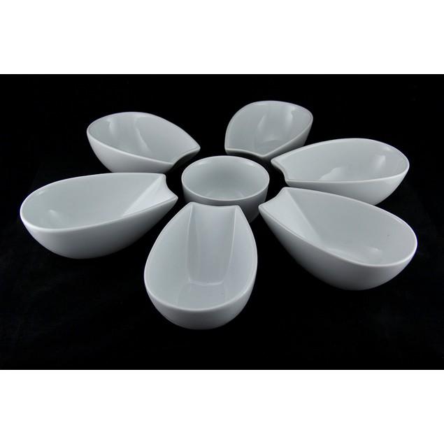 7 Pc. White Ceramic Flower Petal Serveware Set Decorative Bowls