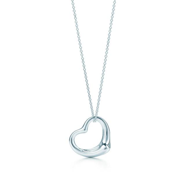 Designer Inspired White Gold Plated Heart Pendant Necklace