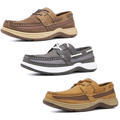 Brown Oak Mens Casual Memory Foam Comfort Slip on Boat Shoes