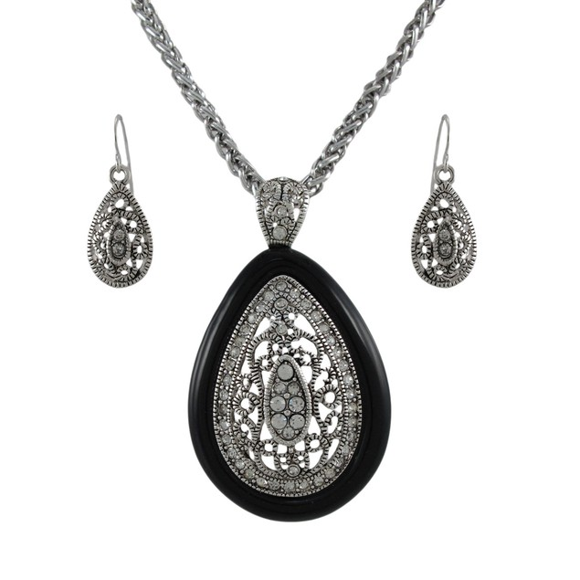 Silver And Black Teardrop Rhinestone Necklace And Womens Earring And