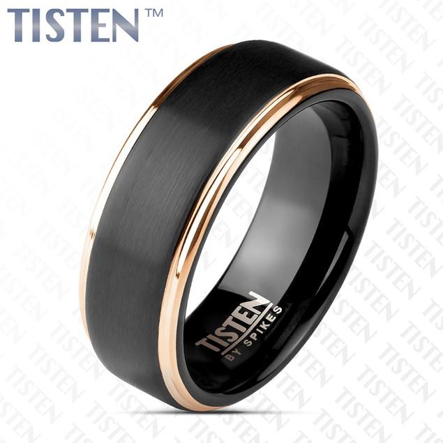 Matte Black Center and Rose Gold Stepped Edges Tisten Ring