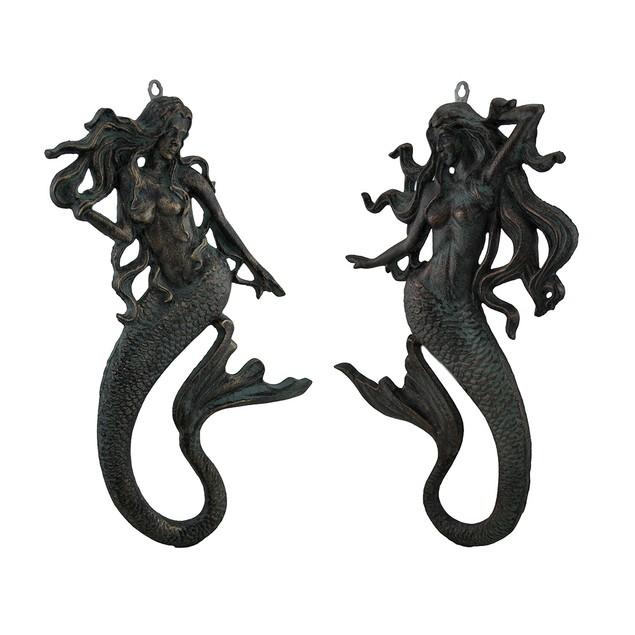 Pair Of Wall Mermaids - Verdigris Wall Sculptures