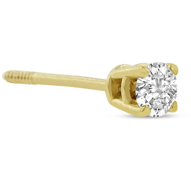14k Yellow Gold 1/4 Carat Genuine Diamond Stud Earrings