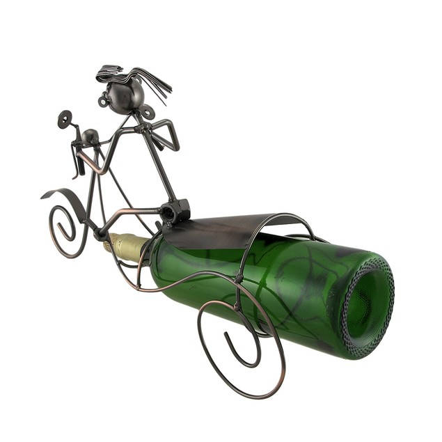 Scooter Rider Bottle Holder Recycled Steel Tabletop Wine Racks