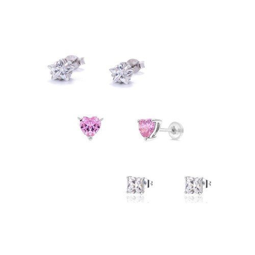 0.925 Sterling Silver  3-Pack Stud Set- 4mm of Star, Heart, & Square Cubic Zirconia Post Earrings