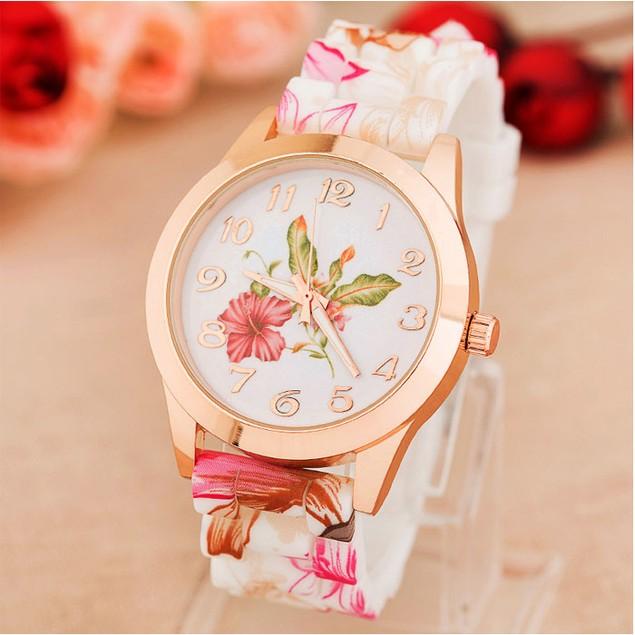 Women's Flower-Printed Silicone Quartz Watch