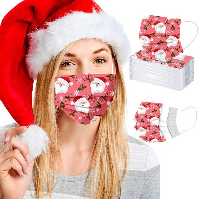 Disposable Holiday Themed Face Masks (50 Or 100 Pack)