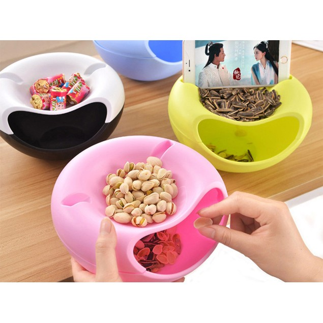 Double-Layer Lazy Curved-Style Snack Bowl - Assorted Colors
