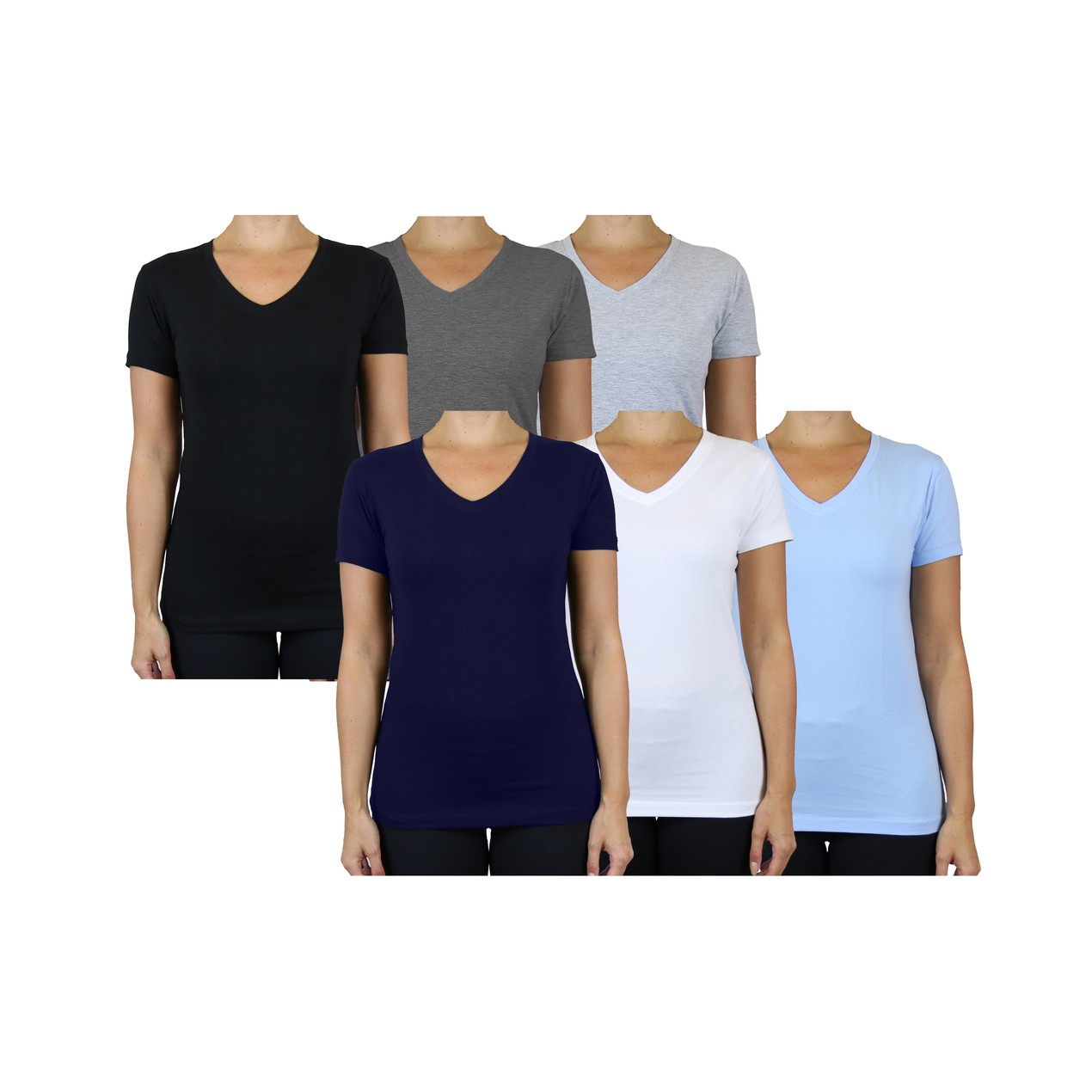 6-Pack Women's Short Sleeve V-Neck Tee