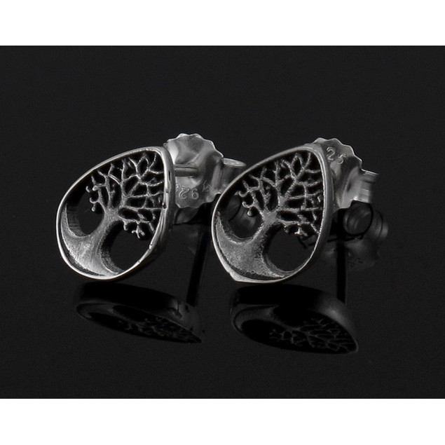 Sterling Silver Tree Of Life Stud Earrings New Age Womens Stud Earrings