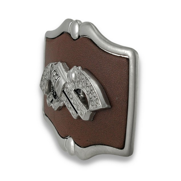 Chrome And Brown Leather Crossed Rhinestone Mens Belt Buckles