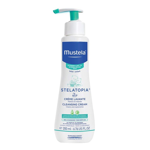 Mustela Stelatopia Cleansing Cream, Baby Wash, for Eczema-Prone Skin