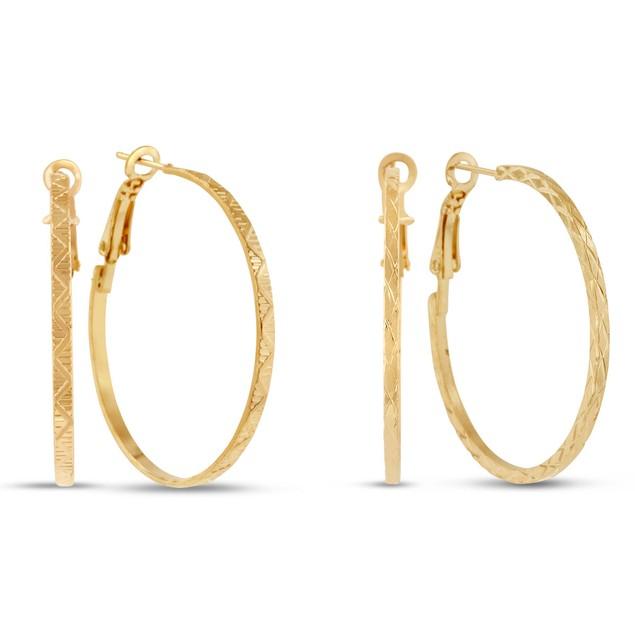 2 Pairs of 1 1/2 inch Gold Plated Hoop Earrings
