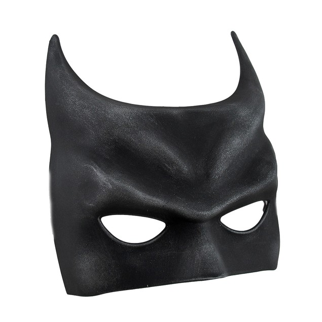 Bat Fantasy Molded Black Half Mask W/Silken Ribbon Mens Costume Masks