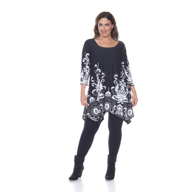 Plus Size White Mark 3/4 Sleeve 'Marlene' Tunic