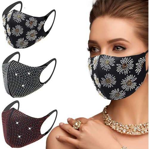 6 Pack: Crystal Rhinestone Reusable Bling Face Mask