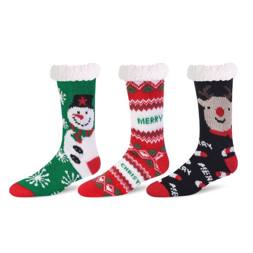 3 Pairs: Holiday Themed Sherpa-Lined Slipper Socks with Non-Skid Grips