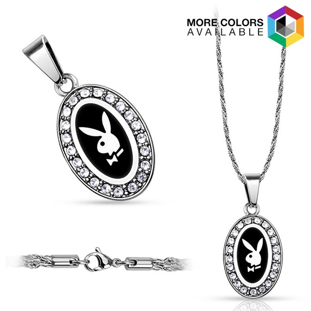 316L Stainless Steel Rope Chain with Oval Playboy Logo Pendant