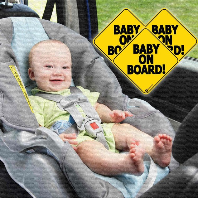 Zone Tech 3x Reflective Baby on Board Car Decal Magnet Sign 5x5""