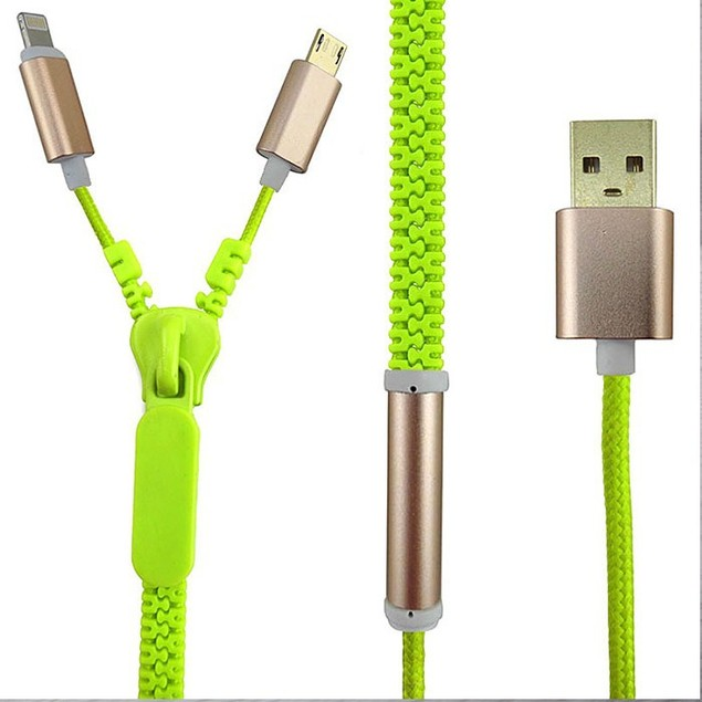 2-Pack Zipper 2-in-1 Micro USB Cable