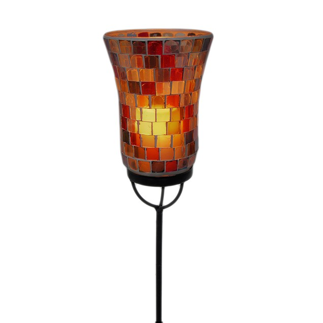 Mosaic Glass Flameless Candle Garden Light Stake Garden Stakes