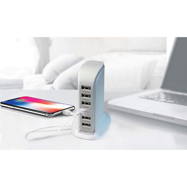 40-Watt 6-Port USB Charging Station for Smart Phones and Tablets