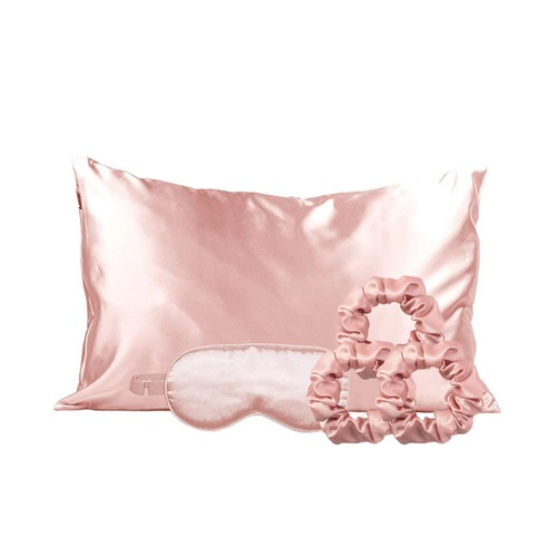 Silky Satin Cozy Comfortable Blush Sleep Set for Peaceful Sleep and Healthy Skin (5-Piece)