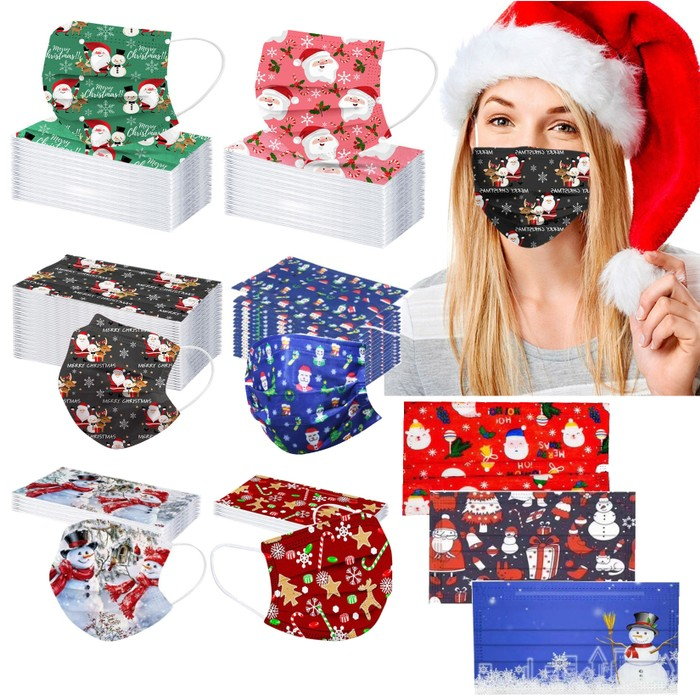 50-Pack Disposable Holiday Themed Face Masks