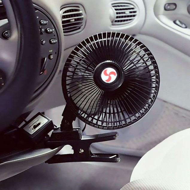 Zone Tech 12V Dashboard Oscillating Cooling Clip On Clamp Portable Fan