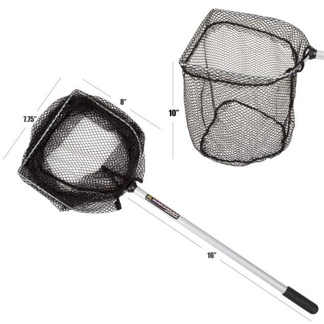 Wakeman Fishing Bait Well Net 8 Inch wide 16 Inch Handle - Black