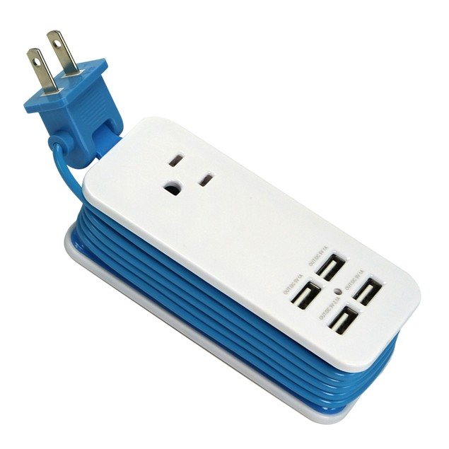 Travel Power Strip with 4 USB Ports & 4-Foot Cord