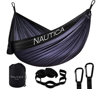 Nautica Portable Camping Hammock 1-2 Person Kids or Adults with Straps, Caribiners & Bag for Travel/Backpacking/Hiking/Backyard/Lawn Was: $89.99 Now: $32.99