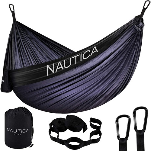 Nautica Portable Camping Hammock 1-2 Person Kids or Adults with Straps, Caribiners & Bag for Travel/Backpacking/Hiking/Backyard/Lawn
