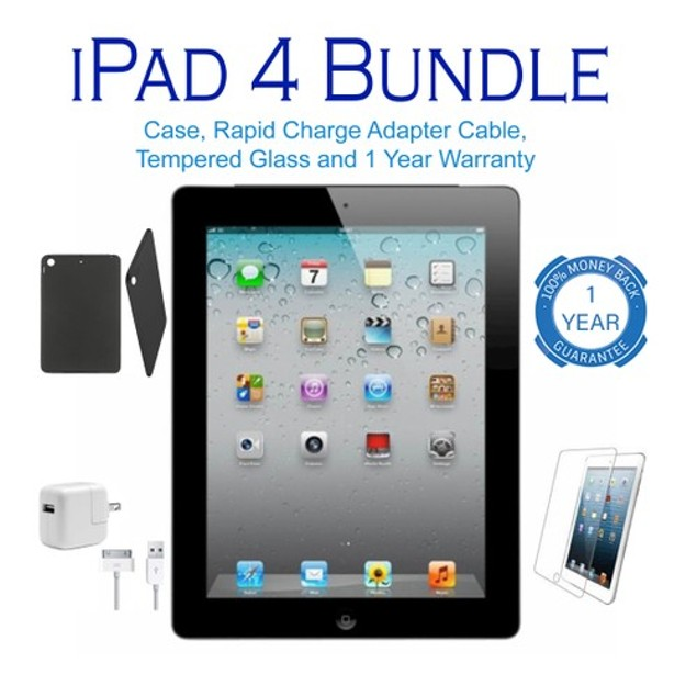 Apple iPad 4 WiFi Bundle (Tempered Glass, Case, Charger, 1-Year Warranty)