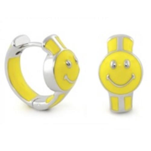 0.925 Sterling Silver  Happy Face Shape - Children's Hoop Huggie Post Earrings.