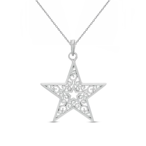 "0.925 Sterling Silver STAR Shape Filigree Diamond-Cut Charm Pendant W/ 18"" Cable Chain Set"
