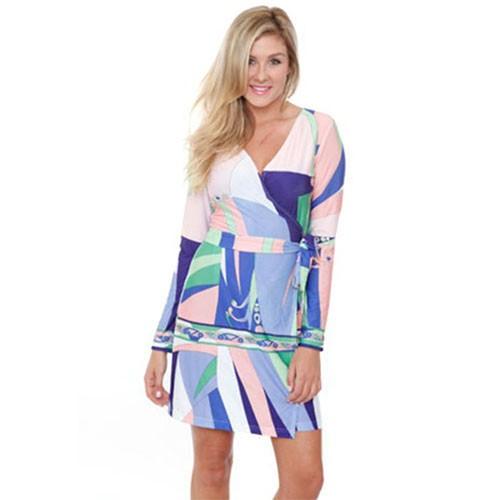 Purple & Mint Print Wrap Dress