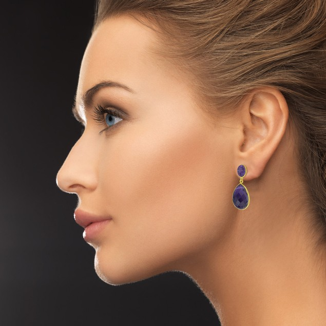12 Carat Pear Shaped Amethyst Drop Earrings