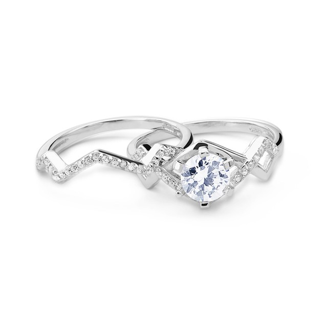 Simulated Diamond Engagement Ring Set - Zigzag