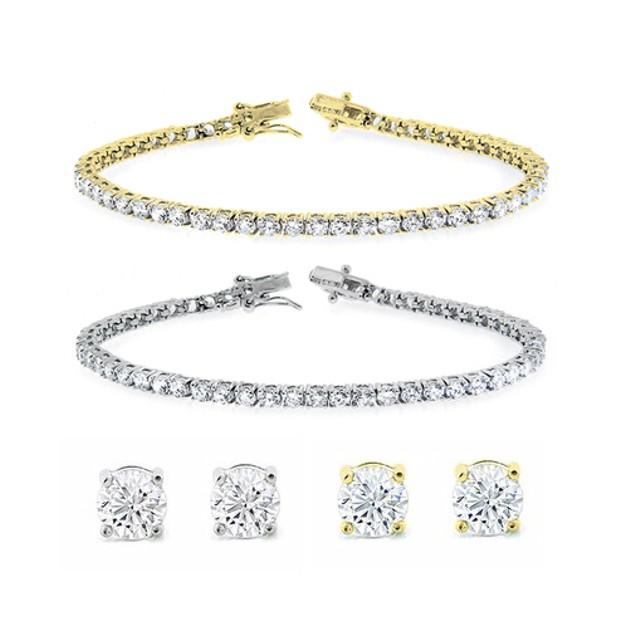 Solitaire Stud Earrings and Tennis Bracelet Set
