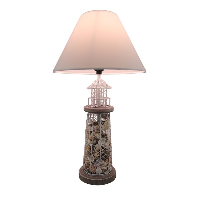 Seashell Filled Metal Mesh Lighthouse Lamp Table Lamps