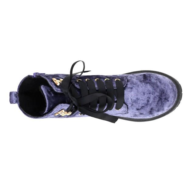 Olivia Miller 'Rockville' Ribbon Laced Velvet Work Boots
