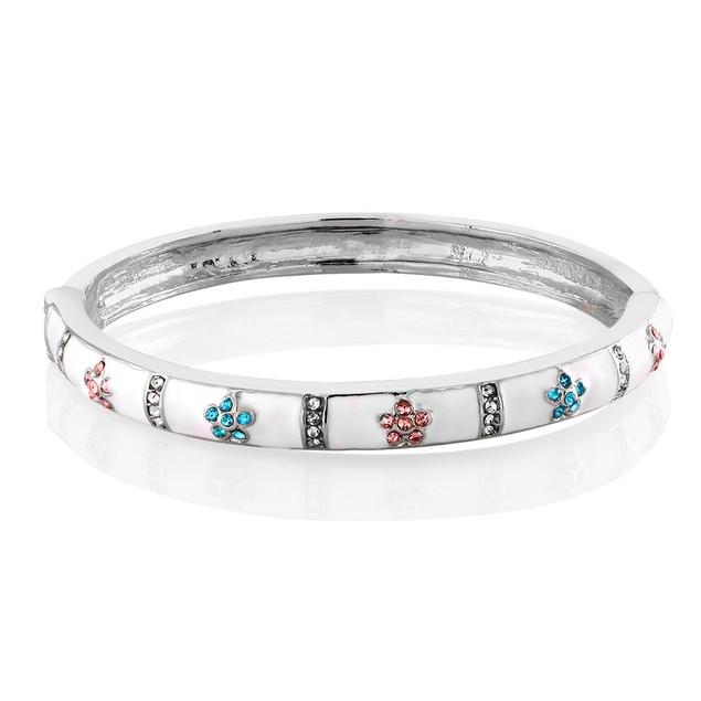 Kids Enamel Flowers Bangle Bracelet