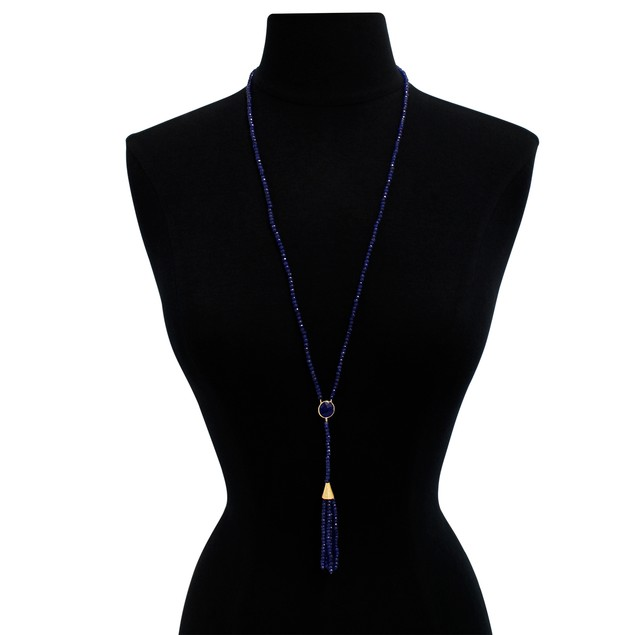14k Yellow Gold 142ct Blue Sapphire Tassel Necklace, 36""