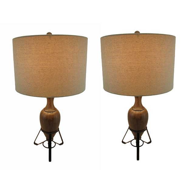 Set Of 2 Wood Look Torpedo Urn Table Lamps W/ Table Lamps