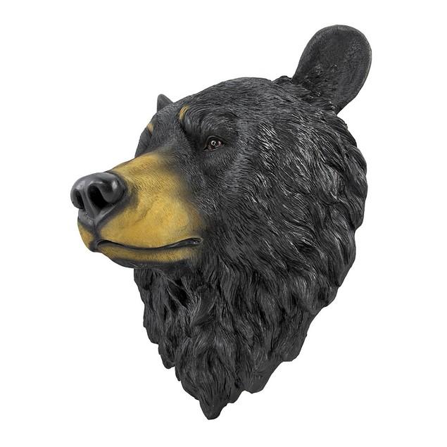 Black Bear Head Mount Wall Statue Bust Wall Sculptures