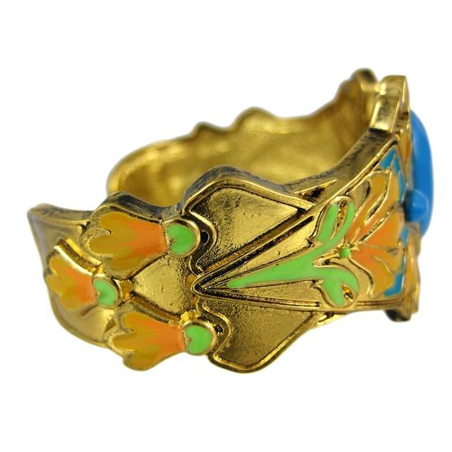 Goldtone & Enamel Art Nouveau Lily Flower Cuff Womens Cuff Bracelets